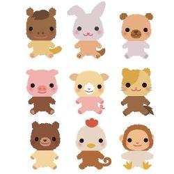 neun verschiedene Tierfiguren mit vertauschten Köpfen