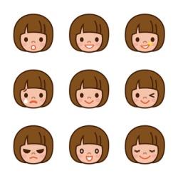Zeichentrickfigur mit verschiedenen Gesichtsausdrücken
