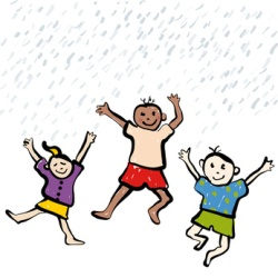 Zeichnung von drei Kindern, die im Regen herumspringen