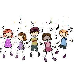 Zeichnung von Kindern die zu Musik tanzen