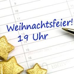 """Kalender mit Dekosternen und dem Eintrag """"Weihnachtsfeier! 19 Uhr"""