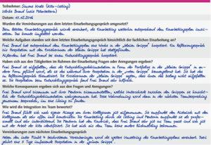 Muster: Dokumentation des Einarbeitungsgesprächs