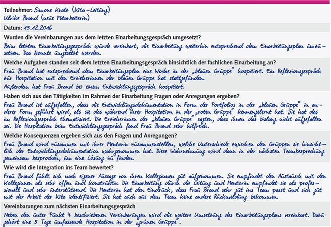 Einarbeitungsgesprache In Der Kita